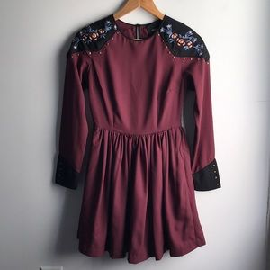 ASOS burgundy western embroidered studded dress